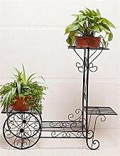 CAIJUN Blumenständer Continental Iron Fahrrad-Modelle Boden Flower Pot Regal, grün Dill hängende Orchidee Rack, Pflanzen stehen für Innen-, Wohnzimmer, Balkon ( Farbe : Schwarz , größe : S )