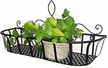 CAIJUN Blumenständer Continental Iron Wandbehang Flower Pot Regal, Balkon Blumenregal, Pflanze Regal ( Farbe : Schwarz , größe : L )