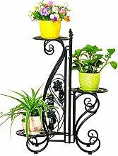 CAIJUN Blumenständer Europäische Eisenboden 3-Tier-Boden Blumentopf Regal Blumenständer Chlorophytum Grüne Rettich Pflanze Topfhalter für Schlafzimmer Balkon Wohnzimmer ( Farbe : A )