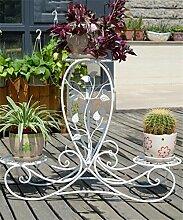 CAIJUN Blumenständer Europäische - Stil Kreative Retro - Eisen 3 - Tier Boden Flower Pot Regal, Pflanzen stehen, Chlorophytum Blume Rack für Balkon, Wohnzimmer, Indoor ( Farbe : Weiß )