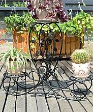 CAIJUN Blumenständer Europäische - Stil Kreative Retro - Eisen 3 - Tier Boden Flower Pot Regal, Pflanzen stehen, Chlorophytum Blume Rack für Balkon, Wohnzimmer, Indoor ( Farbe : Schwarz )