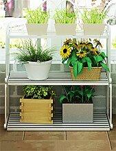 CAIJUN Blumenständer Europäische und amerikanische Eisen Multi - Tier - Boden Flower Pot Regal, Pflanzen stehen, Blumen - Rack für Indoor, Wohnzimmer, Leiter, Hof, Balkon ( Farbe : Weiß , größe : L )