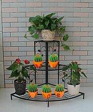 CAIJUN Blumenständer European-style Eisen-Blumen-Zahnstange, Fußboden-Leiter Mehrgeschossiges Ecken-Blumen-Zahnstange, Im Freienbalkone-Eckgarten-Pastellgestell ( Farbe : C2-85*65cm )