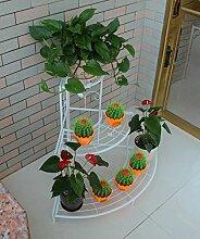 CAIJUN Blumenständer European-style Eisen-Blumen-Zahnstange, Fußboden-Leiter Mehrgeschossiges Ecken-Blumen-Zahnstange, Im Freienbalkone-Eckgarten-Pastellgestell ( Farbe : B2-85*65cm )