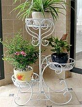 CAIJUN Blumenständer Im europäischen Stil Eisen 3-Tier-Boden Blumentopf Regal, Pflanzen stehen, Flower Rack ( Farbe : Weiß )