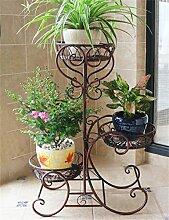 CAIJUN Blumenständer Im europäischen Stil Eisen 3-Tier-Boden Blumentopf Regal, Pflanzen stehen, Flower Rack ( Farbe : Bronze )