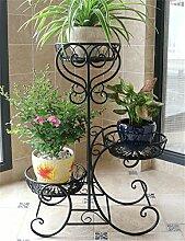 CAIJUN Blumenständer Im europäischen Stil Eisen 3-Tier-Boden Blumentopf Regal, Pflanzen stehen, Flower Rack ( Farbe : Schwarz )