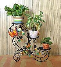 CAIJUN Blumenständer Pastoral Eisen Trapez Multi - Geschoss Regal Wohnzimmer Balkon Boden Stil Blumentopf Rack Leiter Bonsai Rahmen / Pflanze Stand