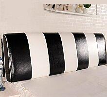 CAIJUN Color Matching Support Bedside Kissen Bett Kopf Kissen Soft Bag Lesung Rückenlehne Kopfteil Kissen-Allgemein (6 Größen) Stereo-Kissen ( Farbe : Schwarz , größe : 190*12*58cm )