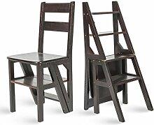 CAIJUN Faltender Leiter Stuhl Bambus Massivholz Vielzweck-Rack Kind Falten Vier Schritte, 4 Farben ( Farbe : Schwarz )