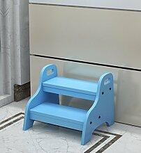 CAIJUN Holz Trittleiter Steppin Stühle Steige Hoch Wasche Deine Hände Schuhe Wechseln Toilette Niedriger Stuhl, 4 Farben Verfügbar Klappstufen (Farbe : Blau)