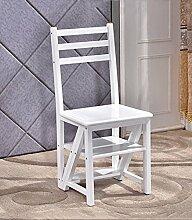 CAIJUN Klappleiter Stühle Sitze Multifunktionsregale Doppelhocker hoch Stuhl aus Holz, Weiß, Höhe 90cm