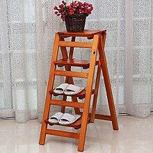 CAIJUN Leiter Massivholz Falten Haushalt Verdicken Aufsteigender Stuhl Steigerung Vier Schritte Leitern, 92cm Hoch Klappstufen (Farbe : D)
