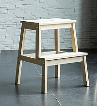 CAIJUN Sofa Stuhl Massivholz Schuhe Wechseln Haushalt Steige Hoch Pedalieren Erhöhen Einfache 2 Ebenen Trittleiter, Holzfarbe Klappstufen