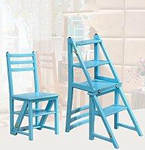 CAIJUN Stühle Sitze Doppelhocker Hochleiter Stuhl Multifunktionsregale Gummi Holz Fold, Blau, Höhe 90cm
