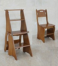 CAIJUN Stühle Sitze Hauptleiter Flip Falttreppenstuhl Massivholz Multifunktionsregale Dual-Use Kletterhocker, 4 Farben (Farbe : C)