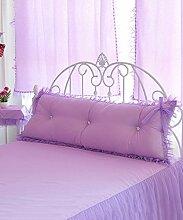CAIJUN Süßer Bogen / Prinzessin Soft-Bedside-Stützkissen Soft Bag Kissen Mit abnehmbarem Knöpfe- Twin Size / Full Size / Queen-Size Stereo-Kissen ( Farbe : Licht violett , größe : 120*10*50cm )