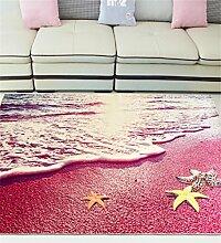 CAIJUN Teppiche Einfacher moderner Teppich-Schlafzimmer-Wohnzimmer-Mittelmeer-Kaffeetisch-Matten-maschinenwaschbare kundenspezifische Bedside Auflage Bereich Teppiche (Farbe : E, größe : 80*120cm)
