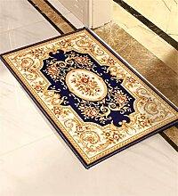 CAIJUN Teppiche Europa Kufe Teppich Fußabtreter Badteppiche Pflanzen Blumenmuster Kann Angepasst Werden Bereich Teppiche (Farbe : Tiefes Blau, größe : 40*60cm)