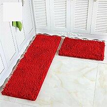 CAIJUN Teppiche Küche Teppich Fußmatte Wohnzimmer Schlafzimmer Anti-Rutsch-Wasseraufnahme Staubdicht Teppich 2 Stück Bereich Teppiche (Farbe : H, größe : 40×60CM+40×120CM)