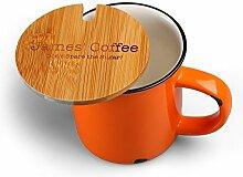 Cairnstone maßgeschneiderter Keramikbecher mit Bambusdeckel - Kostenlose Gravur - Gutes Geschenk für Haus und Büro