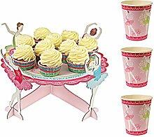 Cake Online ANM0361Tortenständer mit 1Ebene + 12Becher, Karton, mehrfarbig 34x 34x 16cm