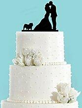 Cake Topper Couple Kissing With Bulldog Wedding