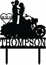 Cake Topper Couple With Motorcycle With Name And