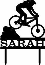 Cake Topper Mountain Biker With Name Girl Biker