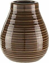 Calabaza aus Keramik (Braun) - ate Tee Becher aus Keramik für den traditionellen Yerba Mate aus Argentinien. B: 8 cm, H: 10 cm, Öffnung: 4 cm