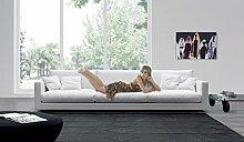 Calia Maddalena–Domenica Sofa, Buffalo Leather Bordo, Corner Suite with Chaise Longue