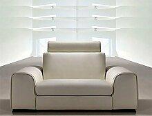Calia Maddalena–Sofa Design Leder Feeling, Leder Buffalo 3 Posti 240 cm Con 2 Poggiatesta Pelle Buffalo Giallo