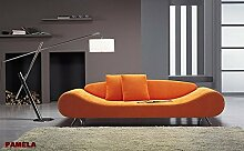 Calia Maddalena–Sofa Design Pamela aus Mikrofaser 2 Sitze Tessuto Microfibra Beige Chiaro