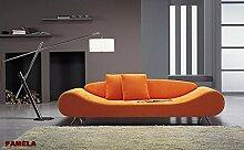 Calia Maddalena–Sofa Design Pamela Leder geschliffen 3 Sitze Pelle Smerigliata Beige Chiaro