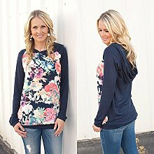 calistous Fashion Freizeit Druck Floral Bluse lose Hoody Tops s-gray S-Dark Blue