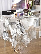 CALITEX Block Stripes Tischdecke PVC grau 200x 140cm
