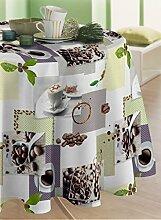 CALITEX Cafe Tischdecke aus Polyester, rund Schokolade 180x 180cm