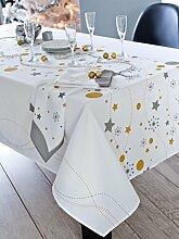 CALITEX Etoile Tischdecke rechteckig Polyester Weiß 150x 300cm