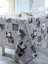 Calitex Fleece Tischdecke PVC grau 200x 140cm