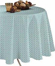 CALITEX Goa Tischdecke aus Wachstuch RUND PVC blau