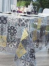 CALITEX Keramik Tischdecke Transparent Rund Grau