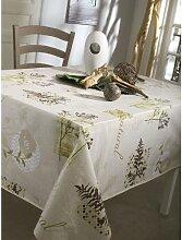 CALITEX Natural Tischdecke, Wachstuch, rund, grün