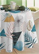 CALITEX Palma Wachs-Tischdecke, rund, 140 cm, Blau