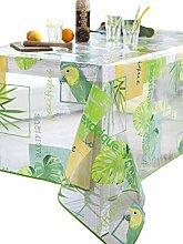 CALITEX Papagei Tischdecke Transparent Rund Grün