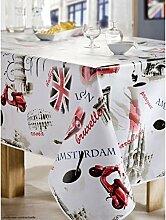 CALITEX Tischdecke aus Wachstuch RUND 140cm Kosmopolitischen