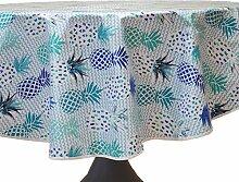 CALITEX Tischdecke, Wachstuch, rund, PVC, blau,