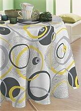 CALITEX Tischdecke, Wachstuch, rund, PVC, gelb,