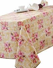 CALITEX Tischdecke, Wachstuch, rund, PVC, rosa,