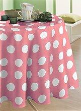 CALITEX Tischdecke, Wachstuch, rund, PVC, rosa