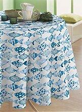 CALITEX Wachs-Tischdecke, Motiv Fischbank, Blau,